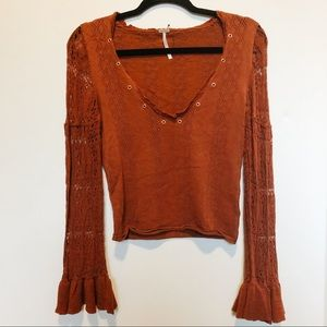 Free People Cropped Sweater with Crocheted Sleeves